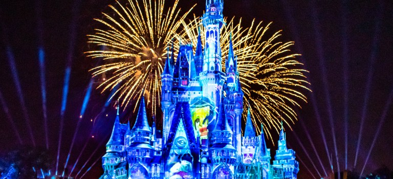 Happily Ever After is Spectacular fireworks show at Cinderella`s Castle on dark night background in Magic Kingdom 43